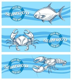 Conjunto de bandeiras de frutos do mar.