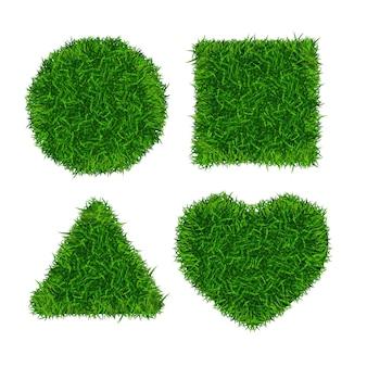 Conjunto de bandeiras de grama verde. triângulo, caixa, círculo e coração. ilustração vetorial