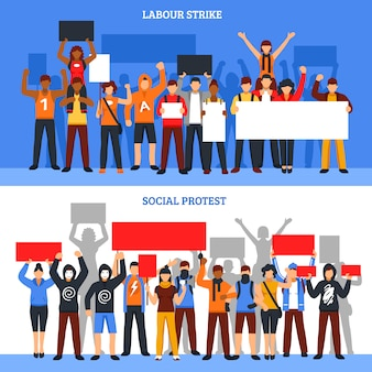 Conjunto de bandeiras de greve de multidão