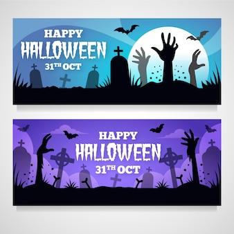 Conjunto de bandeiras de halloween conceito