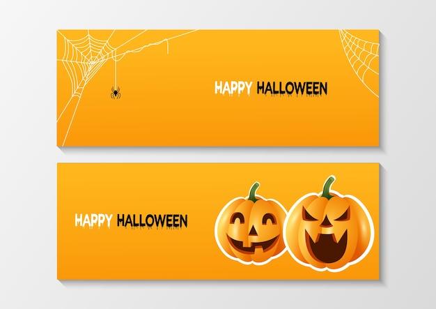 Conjunto de bandeiras de halloween feliz.