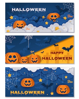 Conjunto de bandeiras de halloween. ilustrações.