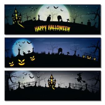 Conjunto de bandeiras de halloween.