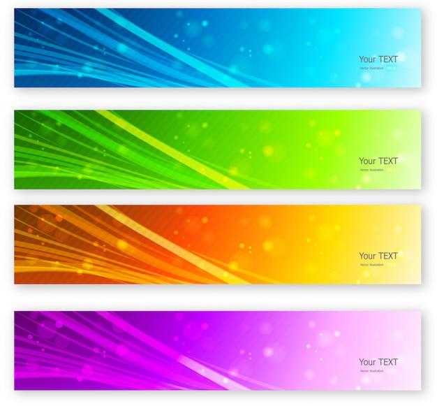 Conjunto de bandeiras de linhas coplor abstrata