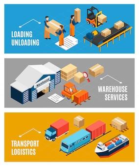 Conjunto de bandeiras de logística com construção de armazém e transporte de mercadorias 3d