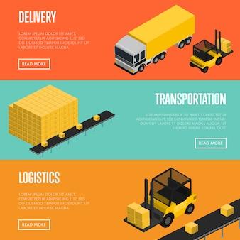 Conjunto de bandeiras de logística e transporte de entrega