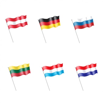 Conjunto de bandeiras de luxemburgo, holanda, rússia, lituânia, áustria, alemanha
