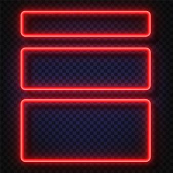 Conjunto de bandeiras de luz neon. sinal de quadro de luz de néon de vetor.