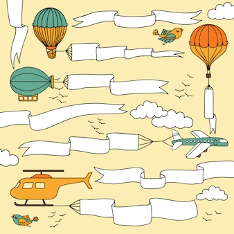 Conjunto de bandeiras de mão desenhada e fitas realizadas pelos aviões, balões de ar quente e dirigível