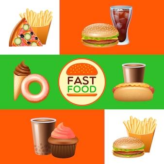 Conjunto de bandeiras de menu de restaurante fast food