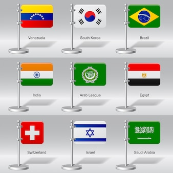 Conjunto de bandeiras de mesa do mundo