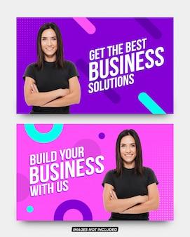 Conjunto de bandeiras de mídia social de soluções de negócios