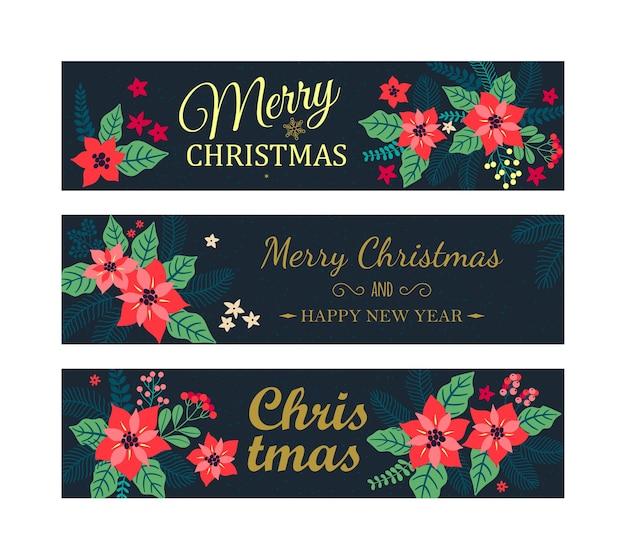 Conjunto de bandeiras de natal. cartões criativos com plantas de inverno em um fundo azul escuro.