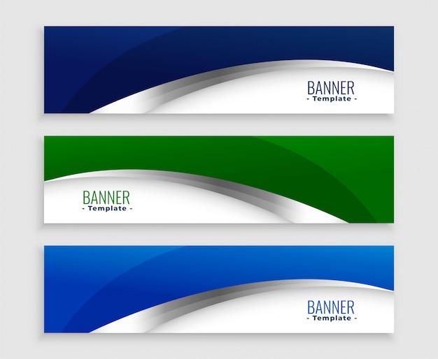 Conjunto de bandeiras de negócios de onda azul e verde