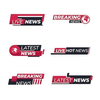 Conjunto de bandeiras de notícias de última hora