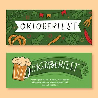 Conjunto de bandeiras de oktoberfest de mão desenhada