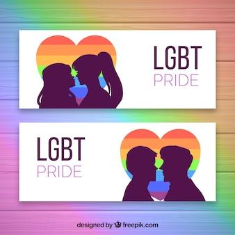 Conjunto de bandeiras de orgulho lgbt com cores