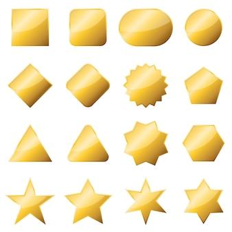 Conjunto de bandeiras de ouro isolado.