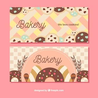 Conjunto de bandeiras de padaria com doces