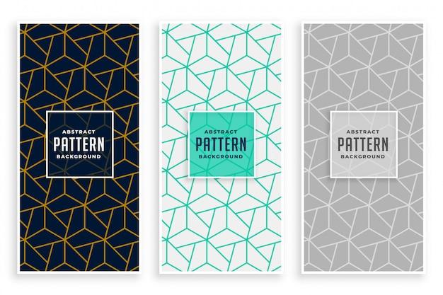 Conjunto de bandeiras de padrão de linhas geométricas abstratas