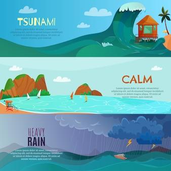 Conjunto de bandeiras de paisagens à beira-mar