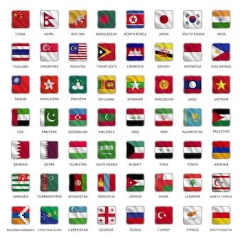 Conjunto de bandeiras de países asiáticos com acenando estilo de forma quadrada