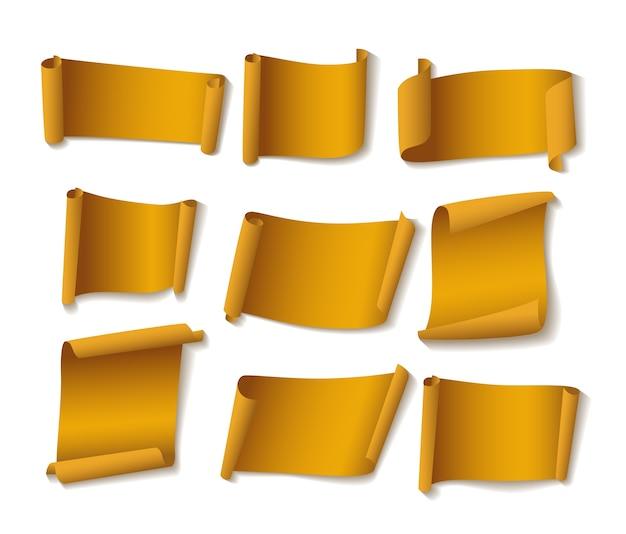 Conjunto de bandeiras de papel amarelo