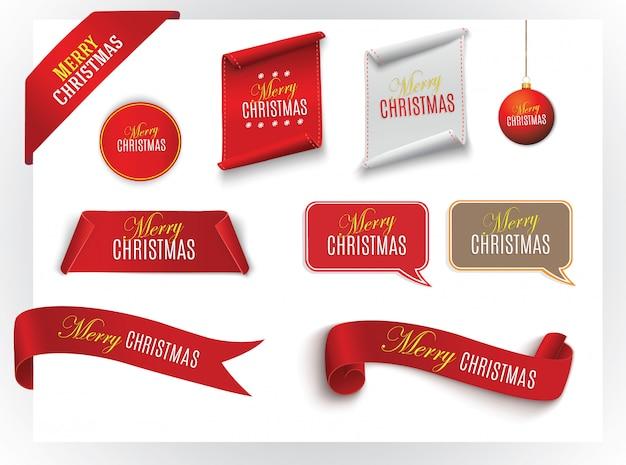 Conjunto de bandeiras de papel vermelho realista. feliz natal. ilustração.