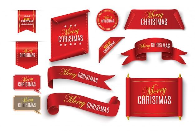 Conjunto de bandeiras de papel vermelho realista. feliz natal.