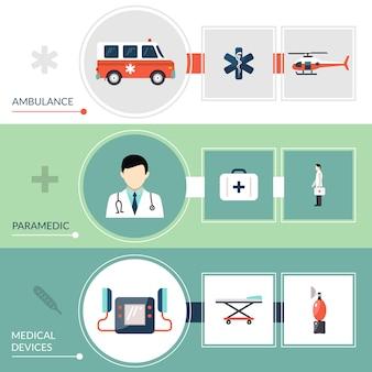Conjunto de bandeiras de paramédico de emergência