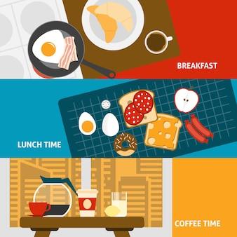 Conjunto de bandeiras de pequeno-almoço
