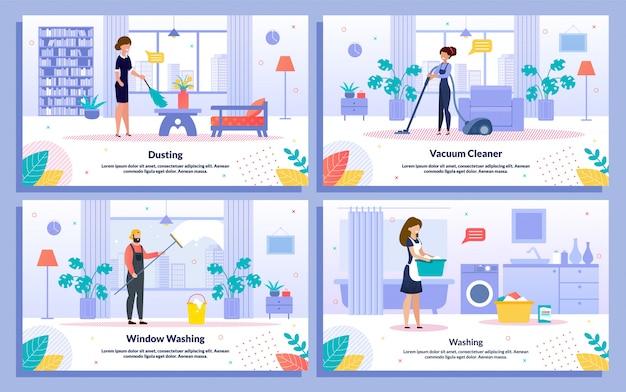 Conjunto de bandeiras de plano de serviço de limpeza executiva