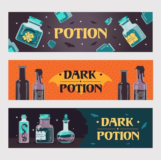 Conjunto de bandeiras de poção negra. garrafas mágicas com bebidas de bruxaria ou ilustrações de venenos com texto