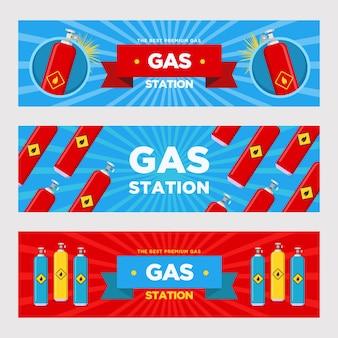 Conjunto de bandeiras de posto de gasolina. cilindros e balões com ilustrações vetoriais de sinais inflamáveis com texto publicitário. modelos para panfletos ou letreiros de postos de abastecimento