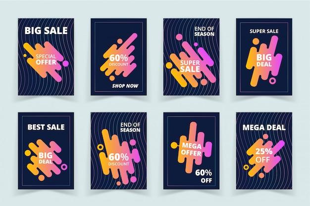 Conjunto de bandeiras de promoção de vendas