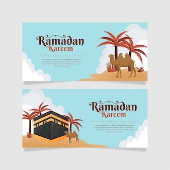 Conjunto de bandeiras de ramadan horizontal design plano