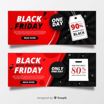 Conjunto de bandeiras de sexta-feira design plano preto