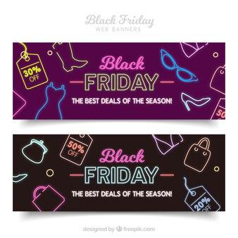Conjunto de bandeiras de sexta feira preta com elementos de néon