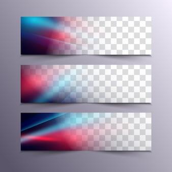 Conjunto de bandeiras de tecnologia abstrata de vetor modelo de folheto de cartaz de cor azul e vermelho