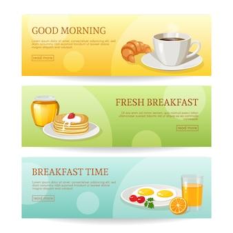 Conjunto de bandeiras de tempo de café da manhã
