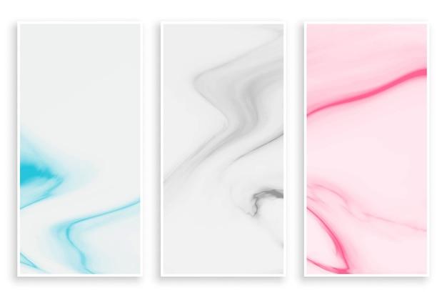 Conjunto de bandeiras de textura de mármore abstrata em cor pastel