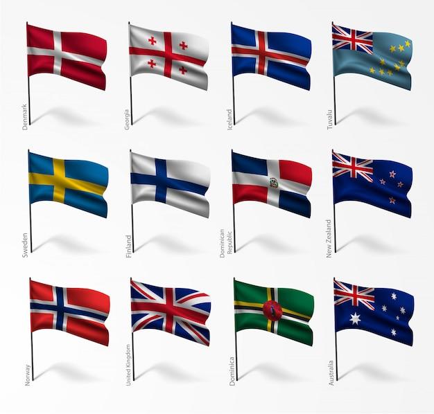 Conjunto de bandeiras de todos os países na ilustração