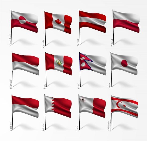 Conjunto de bandeiras de todos os países