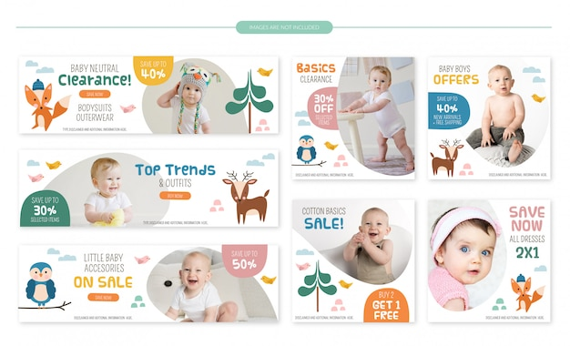 Conjunto de bandeiras de venda de loja de bebê - animais fofos da floresta