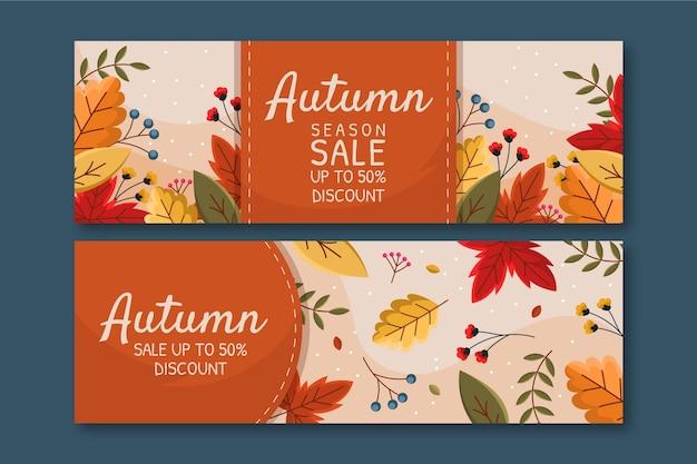 Conjunto de bandeiras de venda de outono