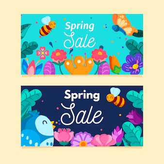 Conjunto de bandeiras de venda de primavera de design plano