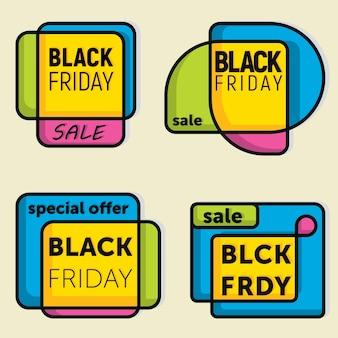 Conjunto de bandeiras de venda de sexta-feira negra. ilustração vetorial.