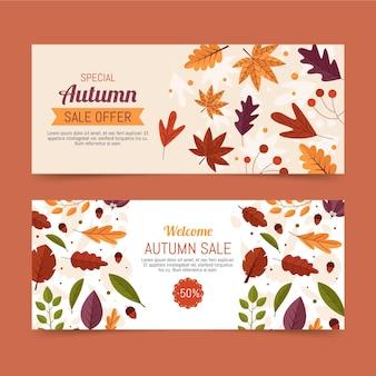 Conjunto de bandeiras de venda outono design plano
