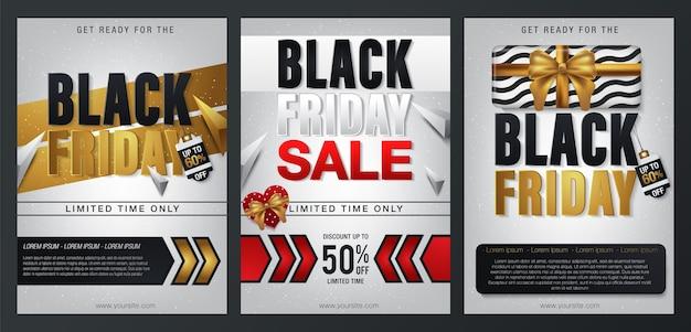 Conjunto de bandeiras de venda sexta-feira negra.