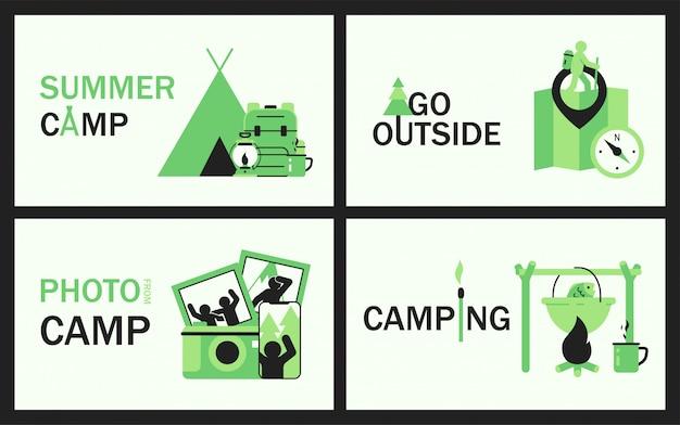 Conjunto de bandeiras de verão camping com tenda, saco de campismo, mapa e bússola, smartphone e câmera, fósforo e pote com sopa de peixe cozinhando na fogueira.